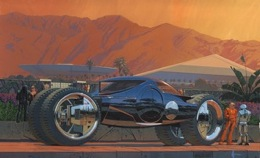 visualization of futuristic vehicle, by Syd Mead