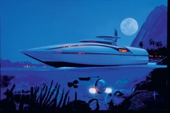 visualization of futuristic boat, by Syd Mead