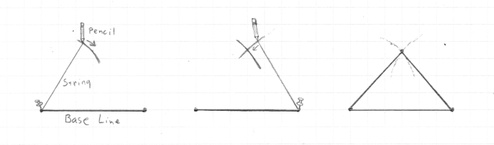 A sketch of the method for drawing an isosceles triangle on cardboard with specific dimensions