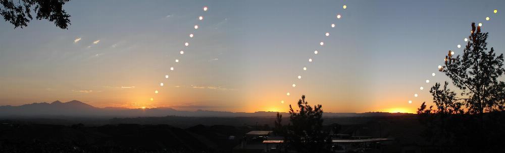 A composite panorama of three sunrises, showing the sun's path at the solstices and equinoxes