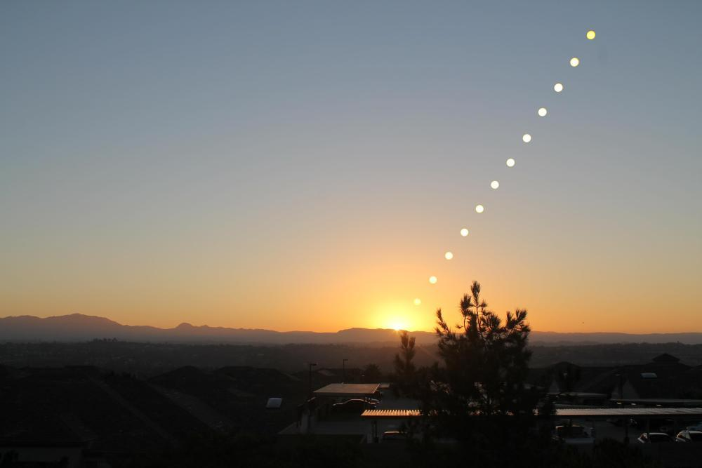 A time-lapse photograph of a sunrise