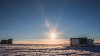 A time-lapse video of the sun circling the horizon at the south pole