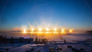 A time-lapse photo of the sun at the winter solstice in Fairbanks, Alaska