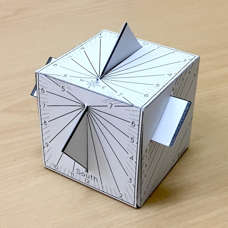 A paper cube sundial