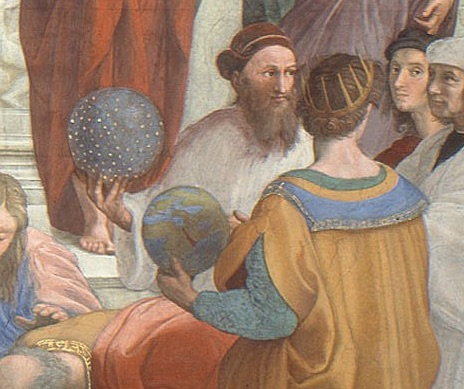 A detail from Raphael's School of Athens, showing the celestial and terrestrial spheres