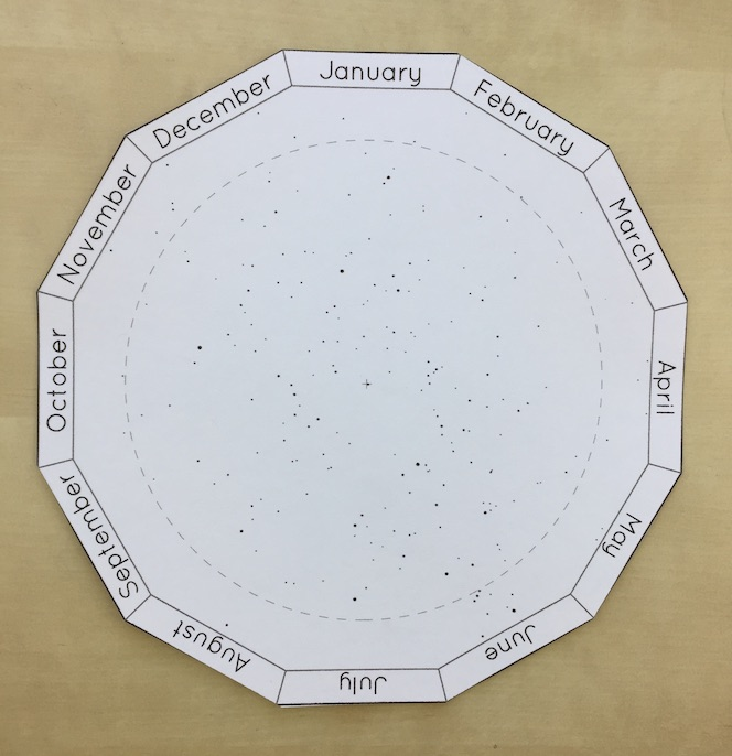 The constellation disk for a dodecagonal paper planisphere