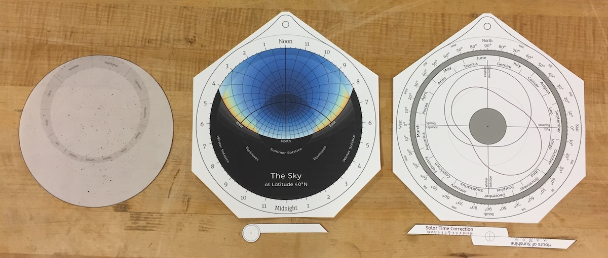 The cut-out paper parts of an educational astrolabe