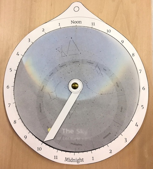 An educational paper astrolabe, set to show the sky at 10PM in Early February