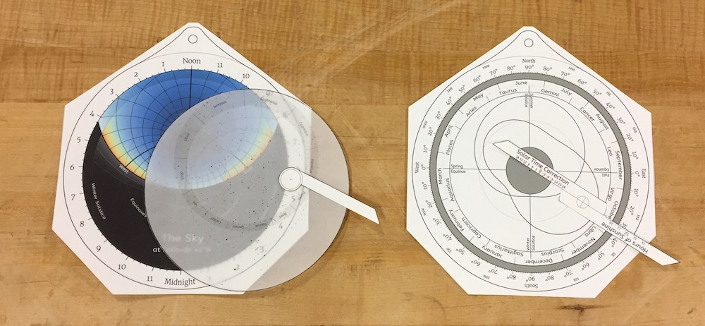 How to stack the various parts of the educational paper astrolabe