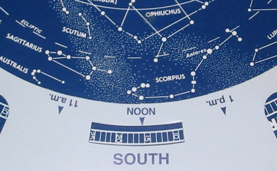 A close-up of Scorpius and Sagittarius as they appear on a single-sided planisphere