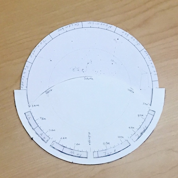 The south side of a double-sided circular paper planisphere
